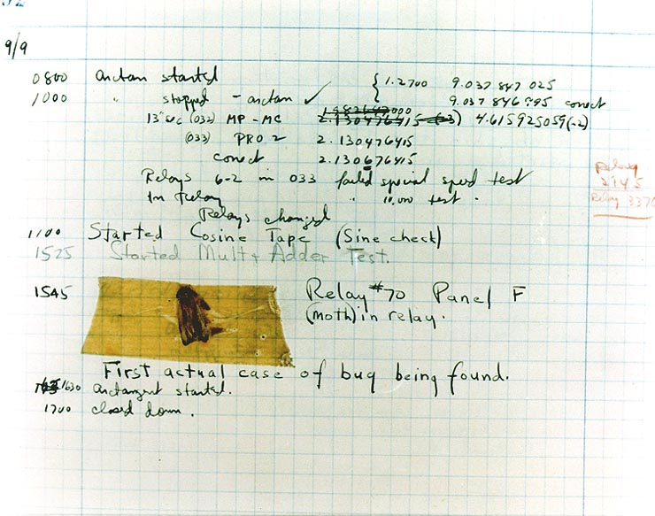 Grace Hopper's original notebook entry