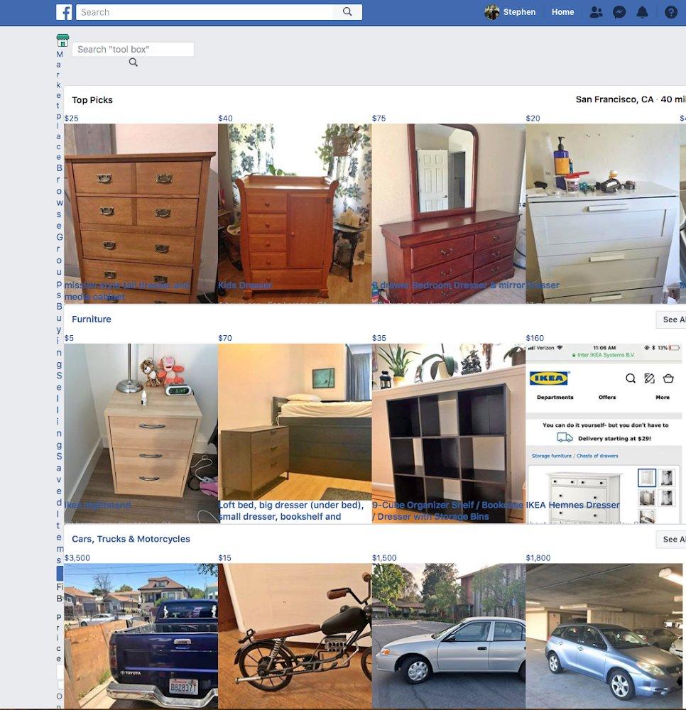 Super narrow column in Facebook Marketplace website