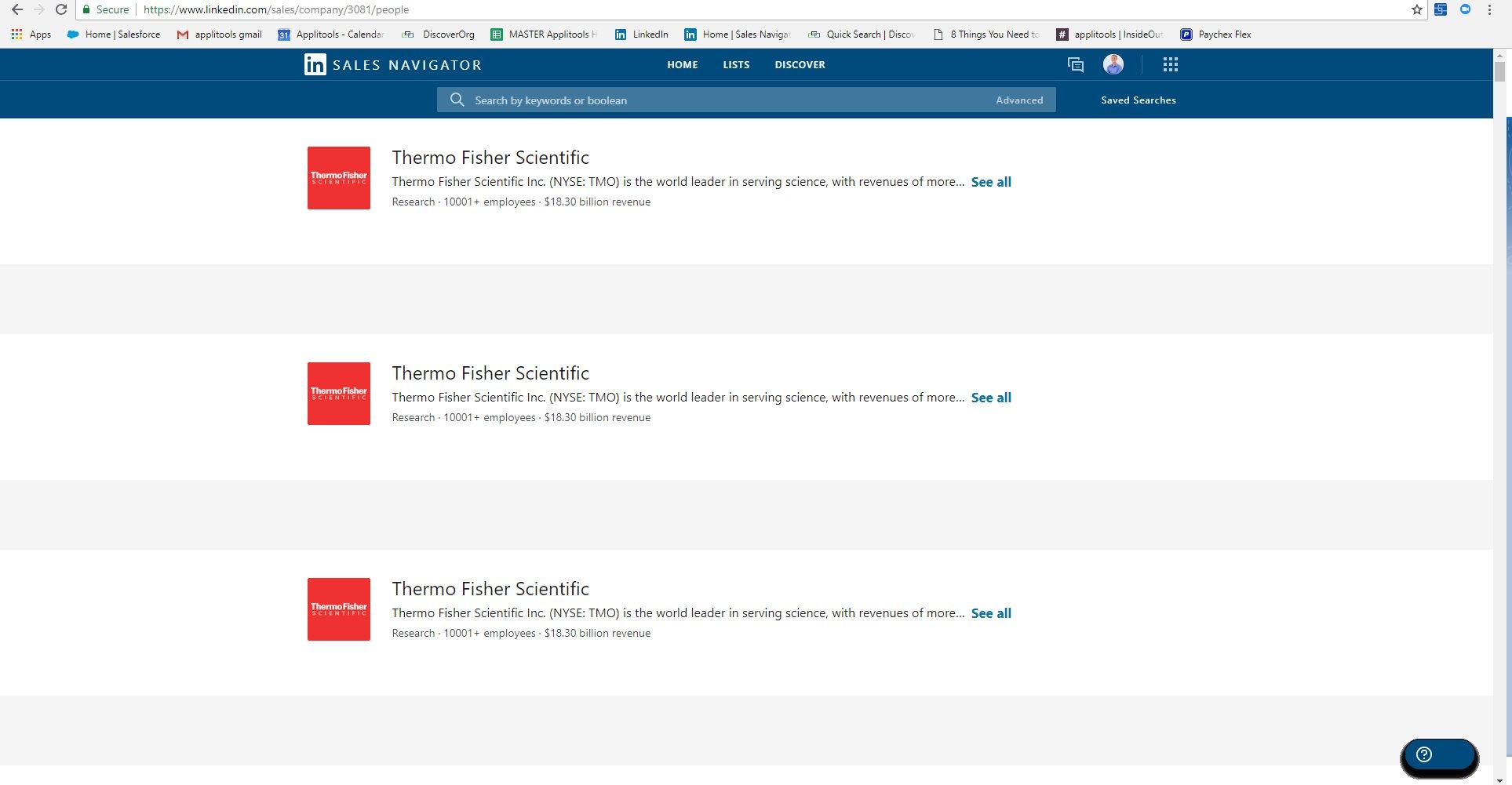 Repeated company listing on LinkedIn