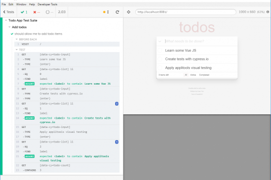 Cypress & VueJS Todo sample app