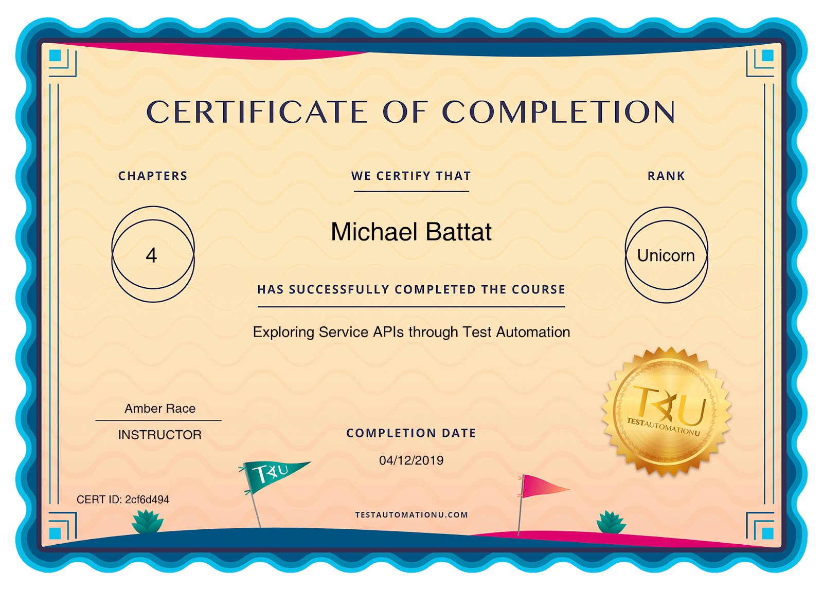 Certificate of Completion — Exploring Service APIs Through Test Automation