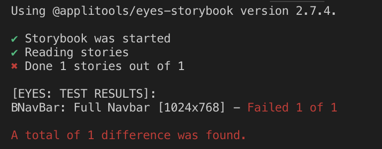 "Terminal after running ""npx eyes-storybook"""