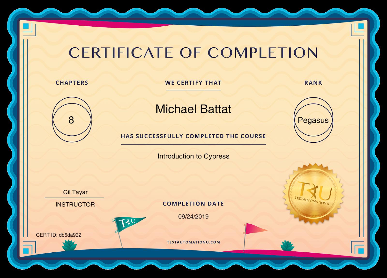 certificates TAU db5da932