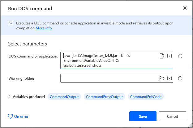 Using a Run DOS Command action in Microsoft Power Automate Desktop to execute the ImageTester CLI.