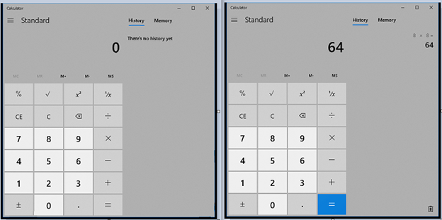 """Two screenshots side by side, one showing a calculator displaying """"0"""" and the other displaying """"64""""."""